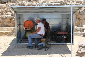 Em. Kasotakis and D. Haggis, D500 tool shed, Azoria 2014. L. Thompson, Azoria Project 2014.