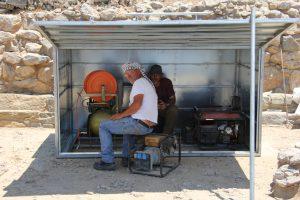 Em. Kasotakis and D. Haggis, D500 tool shed, Azoria 2014. L. Thompson, Azoria Project 2014.